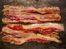 rustic cooked bacon