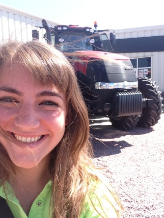 At this implement dealer in northwest Iowa, teachers were able to ride along as the tractor drove itself!